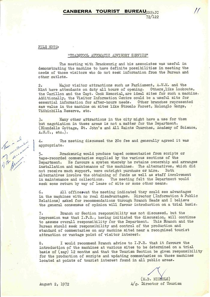 72/122 - Canberra Tourist Bureau - Information Machines - folio 11