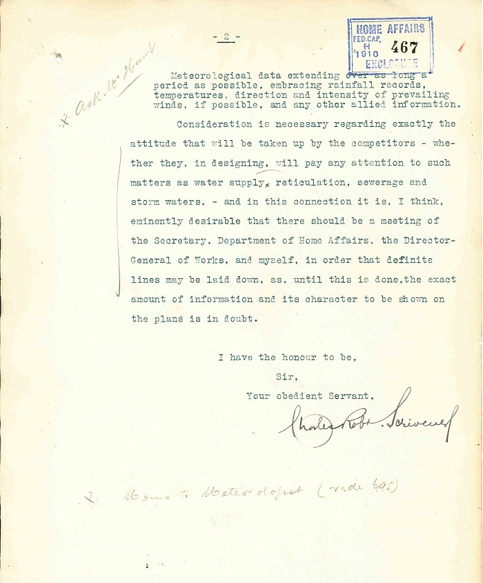 Memorandum to Department of Home Affairs from Charles Scrivener 26th April 1910 page 2