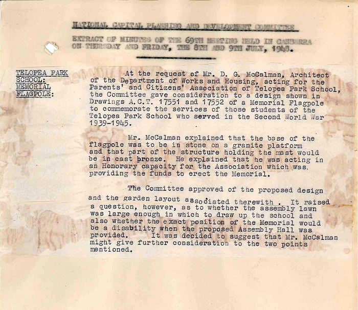 Excerpt from National Capital Planning & Development Committee Minutes - 69th Meeting 9th July 1948