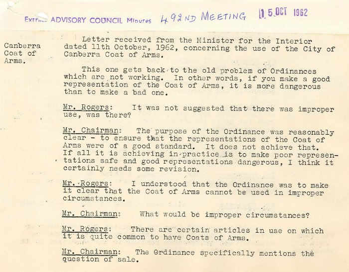 Excerpt from ACT Advisory Council Meeting 492 p.711 - 15-10-1962