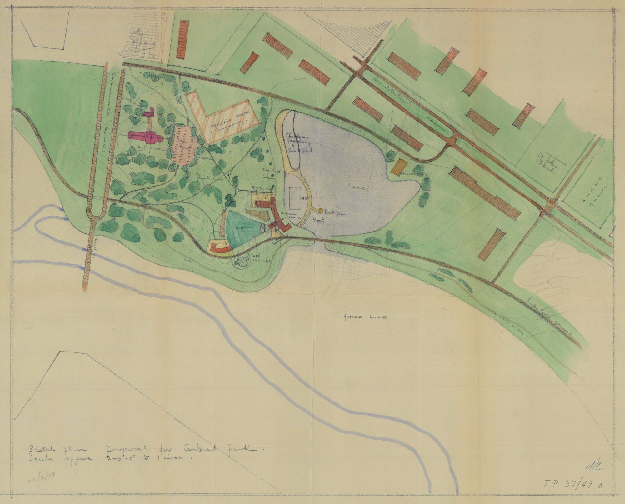 1949 proposal plan for Commonwealth Park TP37/49A