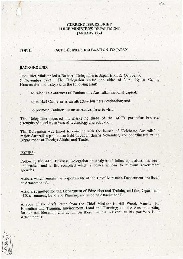 Current Issues Brief - Chief Minister's Department - January 1994 : ACT Business Delegation To Japan