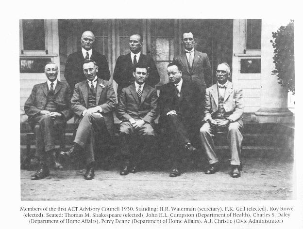 Members of the first Canberra Advisory Council 1930 from Canberra 1913-1953 by Jim Gibbney (page 162)