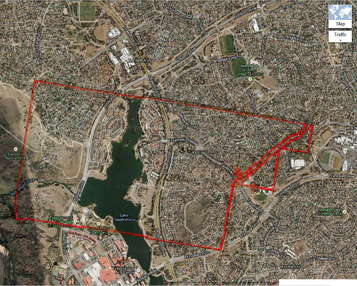 Google Maps image of area c2013 with Stromlo Block 36 boundary in red