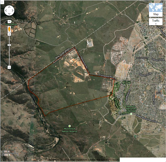 Google Maps image of area c2013 with Belconnen Block 14 boundary in red
