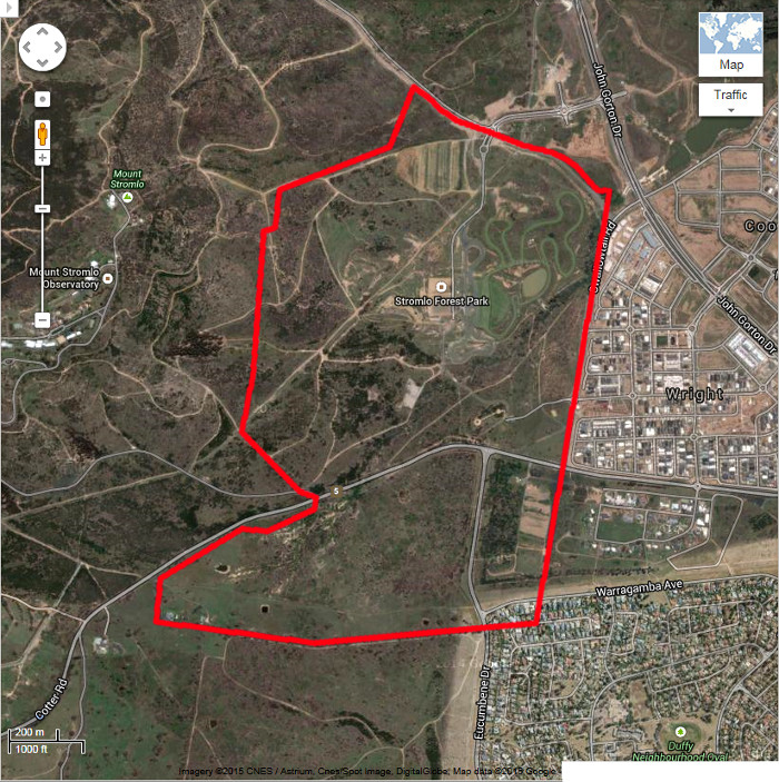 Google Maps image of area c2013 with the boundary for the original Stromlo Block 43 in red