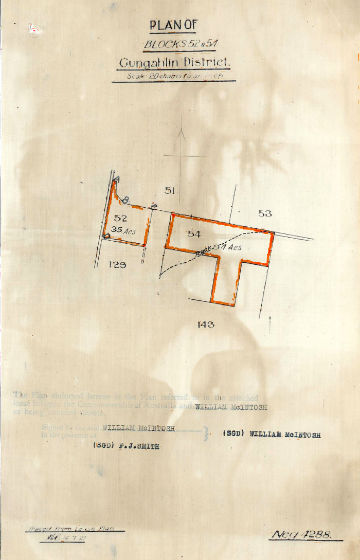 Plan of Gungahlin Blocks 52 and 54