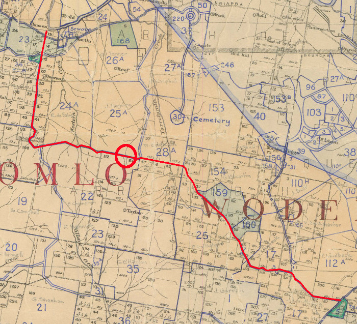Route of Long Gully Road c1940
