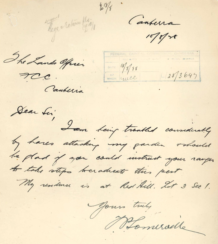 Letter from Somerville to Brackenreg dated 10th August 1928