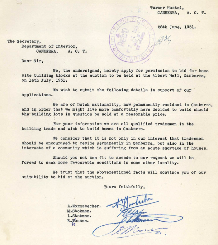 Letter from Messrs A. Wormsbecher, M. Stokman, L. Stokman and E. Monsma dated 28 June 1951
