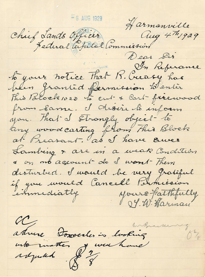 Letter from Thomas Harman to FCC dated the 4th August 1929