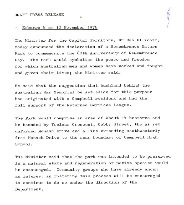 Press release announcing the declaration of the Remembrance Nature Park