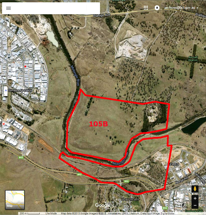 Google Maps image of area c2014 with Gungahlin Block 105B boundary in red
