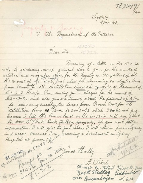 Handwritten letter from Tekel disputing costs due to the Crown