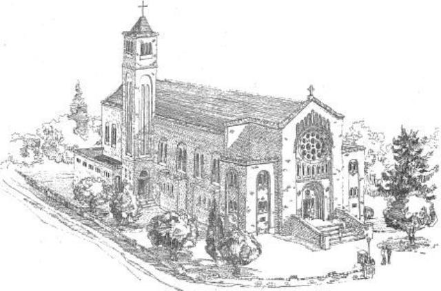 Hand drawn sketch of St Christopher's Cathedral