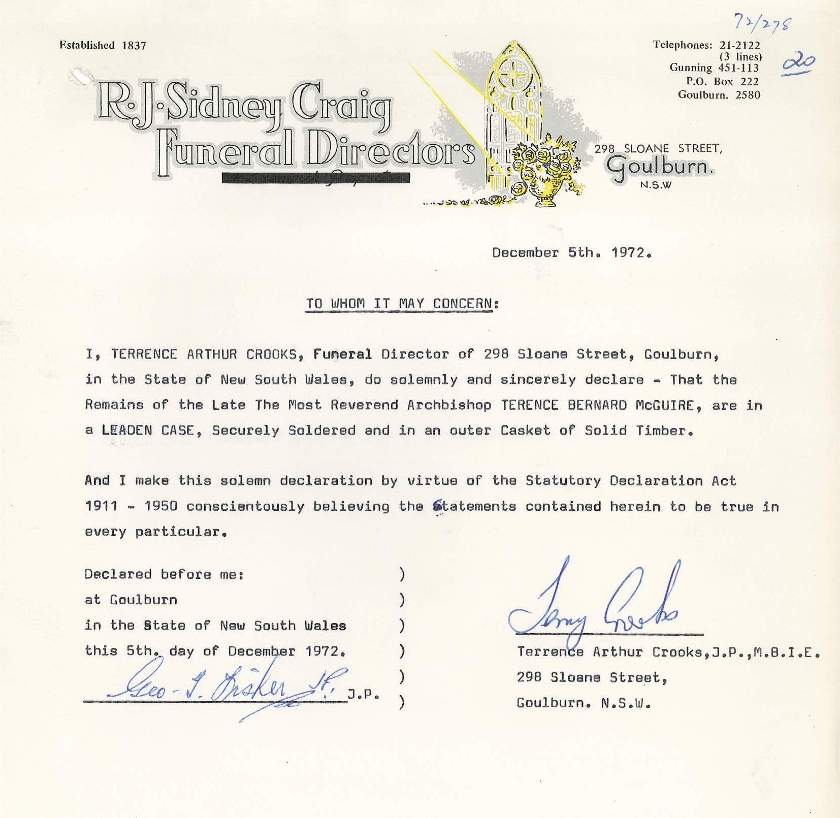 Confirmation of preservation terms by the funeral director for Archbishop McGuire