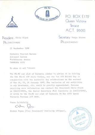 Letter from the FXFJ Car club re events in 1987