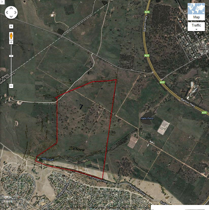 Google Maps image of area c2013 with Belconnen Block 7 boundary in red