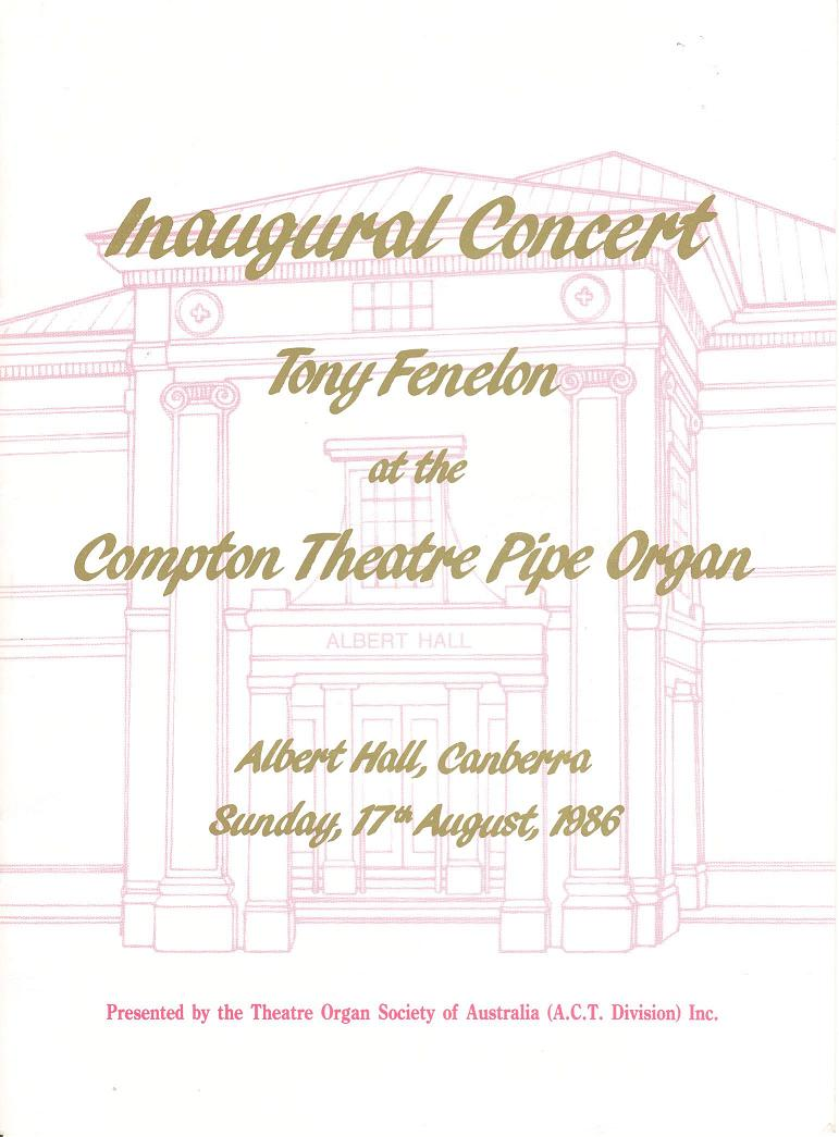 Program for inaugural concert performed by Tony Fenelon 17/08/1986 - cover