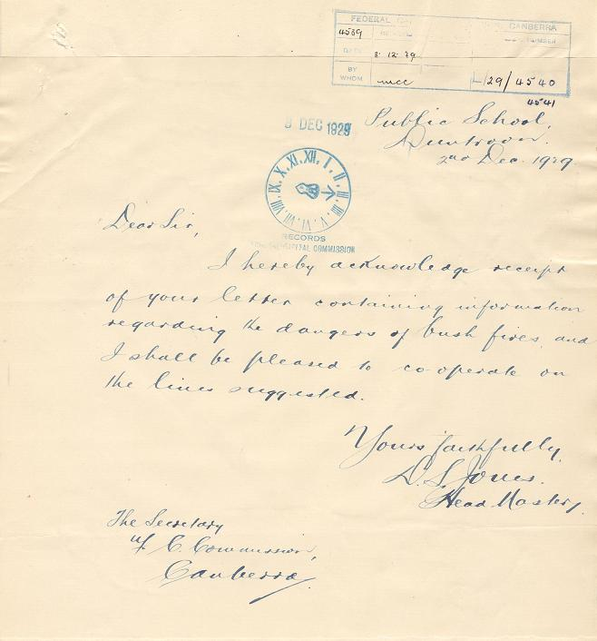 Acknowledgement of Reciept 02/12/1929 : Duntroon School