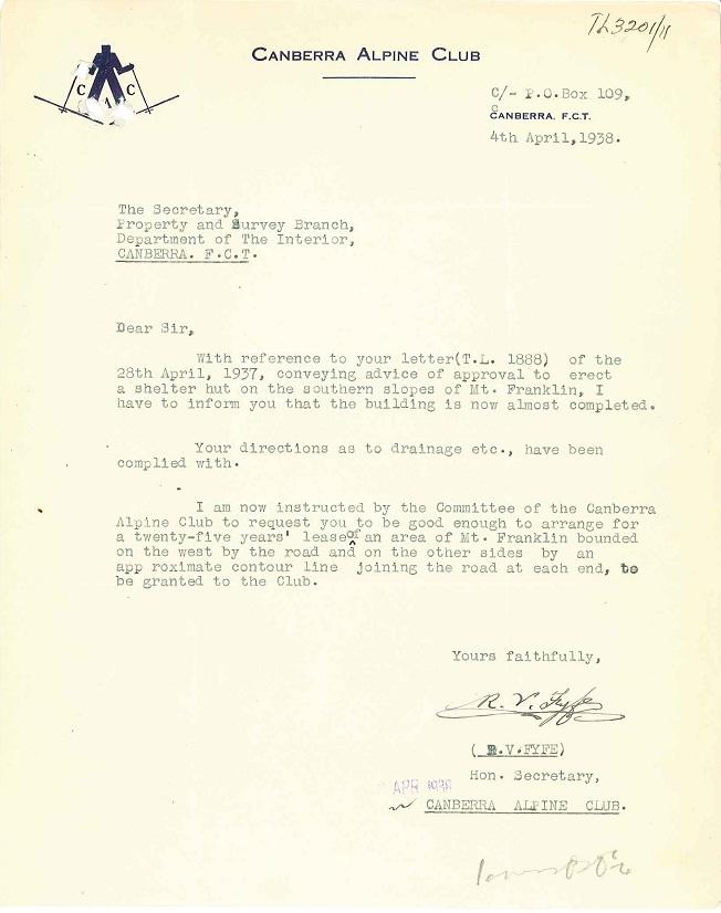 Parks Reserves & Public Places - Liaison - Lands Branch - Cotter River - Canberra Alpine Club - Block 2 & 4 (Mt Franklin Chalet) 1935-1957 pt 1 : folio 04/04/1938