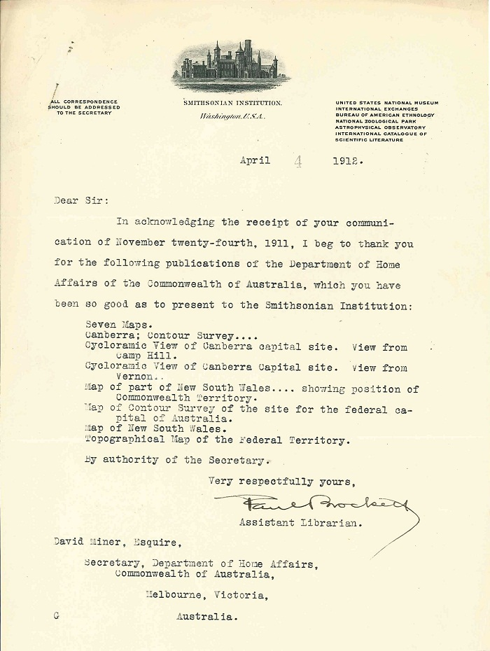 Letter acknowledging receipt from Smithsonian 4th April 1912