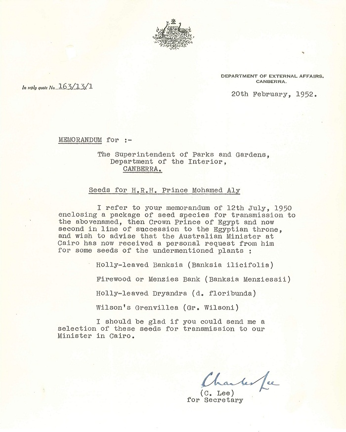 Memo from C. Lee to Lindsay Pryor 20th February 1952