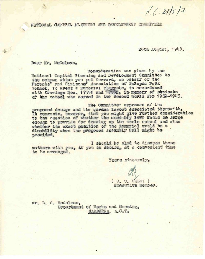 Letter - Response from National Capital Planning & Development Committee to D.G. McCalman 25th August 1948