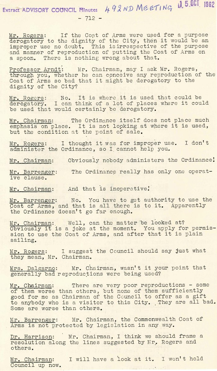 Excerpt from ACT Advisory Council Meeting 492 p.712 - 15-10-1962