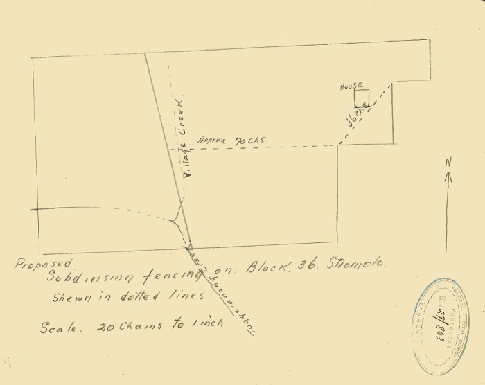 Sketch of Stromlo Block 36 showing location of farmhouse in 1929
