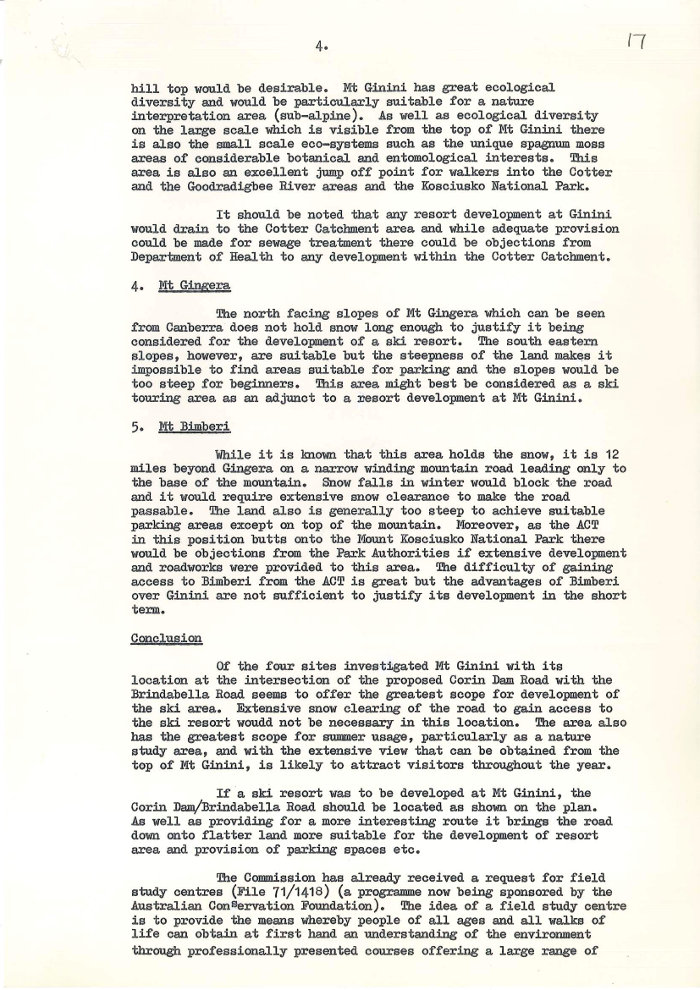 Minute Paper - Snow Resorts in the ACT by K.W. Storey dated 13/01/1972 page 4