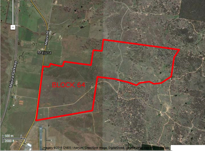 Google Maps image of area c2013 with Gungahlin Block 64 boundary in red