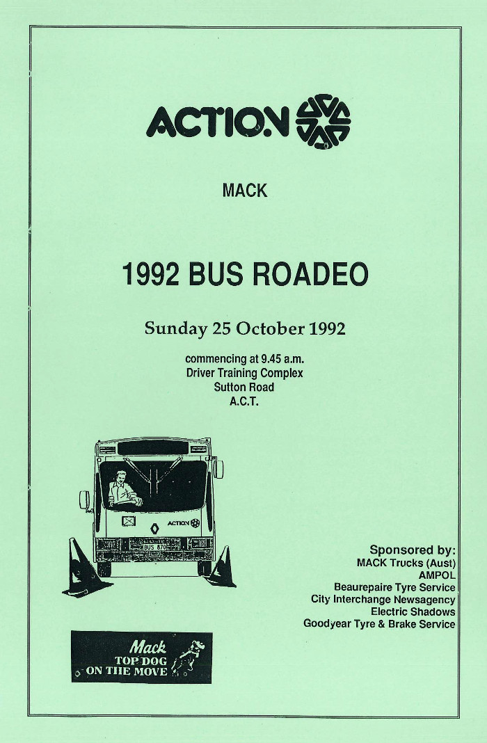 1992 ACTION Mack Roadeo Program Cover