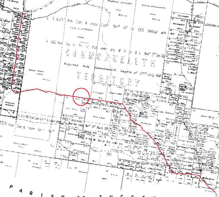 Extract of 1912 Parish of Narrabundah and Yarrowlumla maps