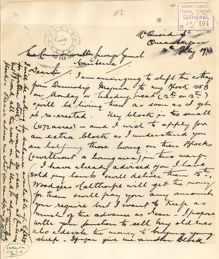 Letter from Muir to the Commonwealth Surveyor General dated the 10th February 1923