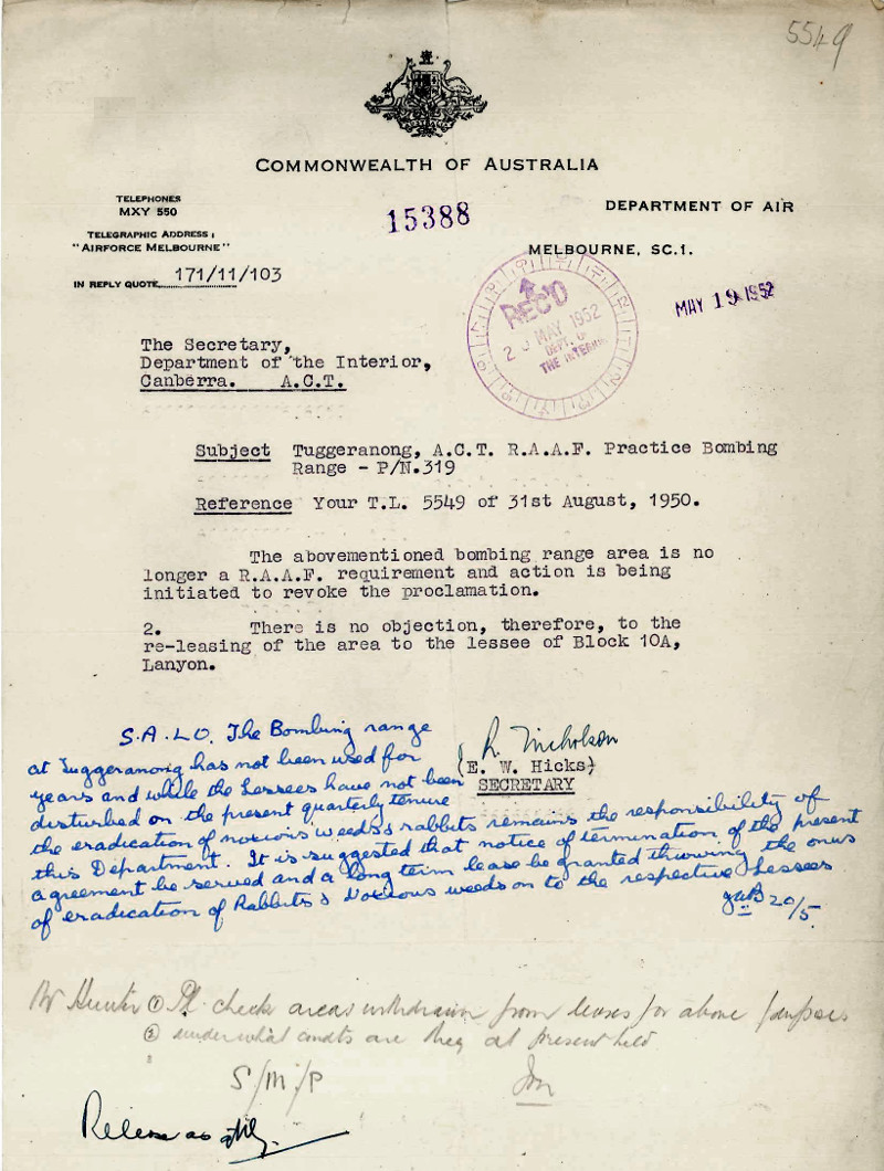 Letter from E.W. Hicks (DA) to the Department of the Interior dated 19th May 1952