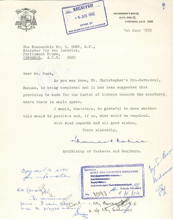 Original request for permission by Archbishop Cahill