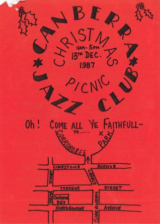 Hand drawn flier for the Canberra Jazz Club