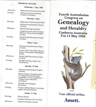 Program for the GEnealogy and Heraldry Congress