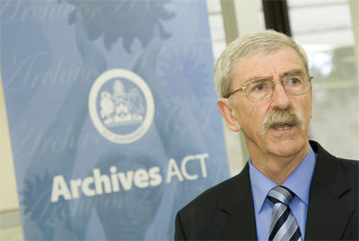 Minister John Hargreaves giving a speech at launch of ArchivesACT 1st of July 2008