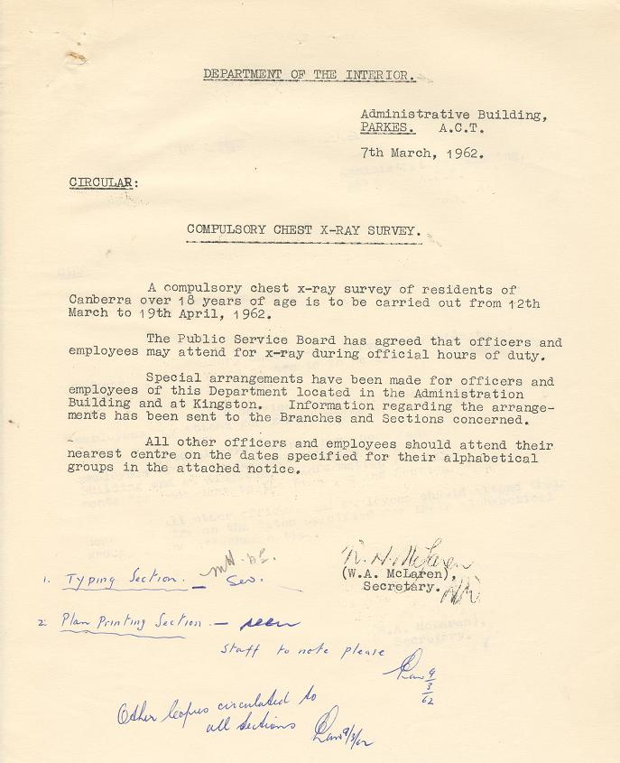 Department of the Interior Circular dated 07/03/1962 : Compulsory Chest X-Ray Survey