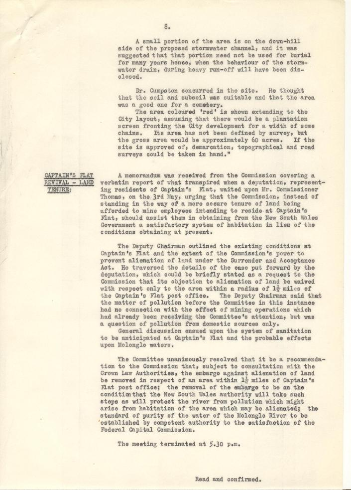 Federal Capital Commission Development Committee : Minutes of 15th General Meetiing - 09/05/1928 - page 8