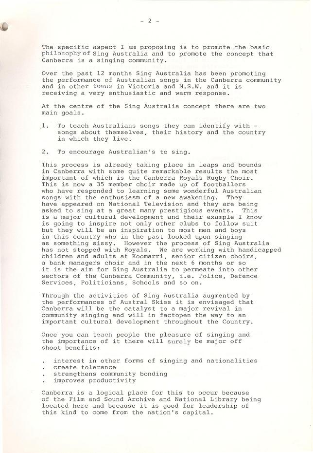 Sing Australia Proposal : Canberra Day at Expo 88 - page 2