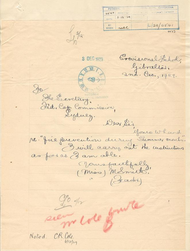 Acknowledgement of Reciept 02/12/1929 : Gibraltar School