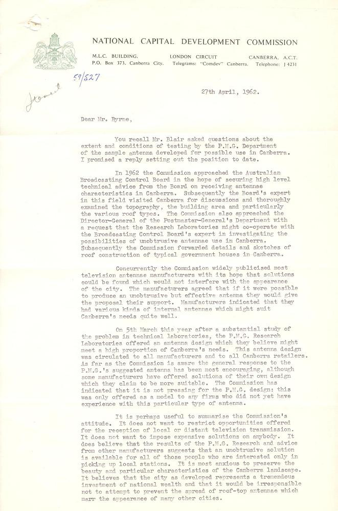 Letter from NCDC to ACT Advisory Council 27/04/1962 - page 1