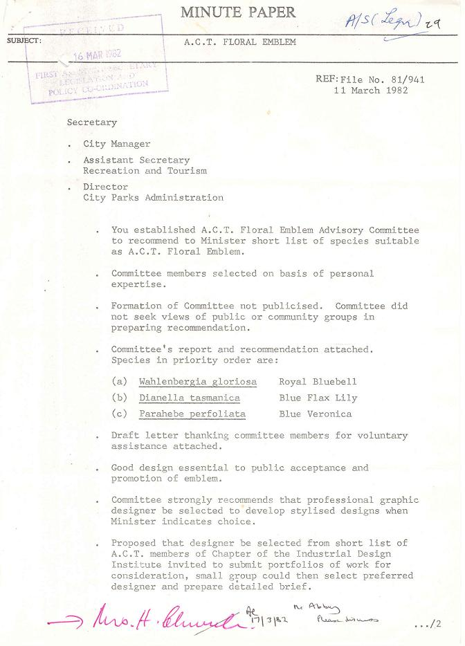 National Botanic Gardens Minute Paper 11/03/1982 : ACT Floral Emblem - page 1