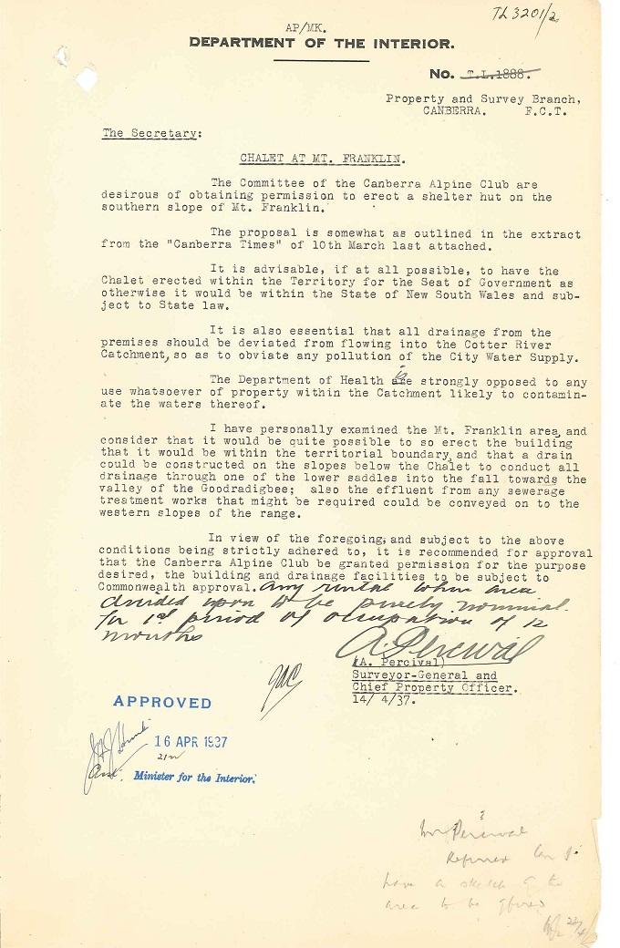 Parks Reserves & Public Places - Liaison - Lands Branch - Cotter River - Canberra Alpine Club - Block 2 & 4 (Mt Franklin Chalet) 1935-1957 pt 1 : folio 14/04/1937