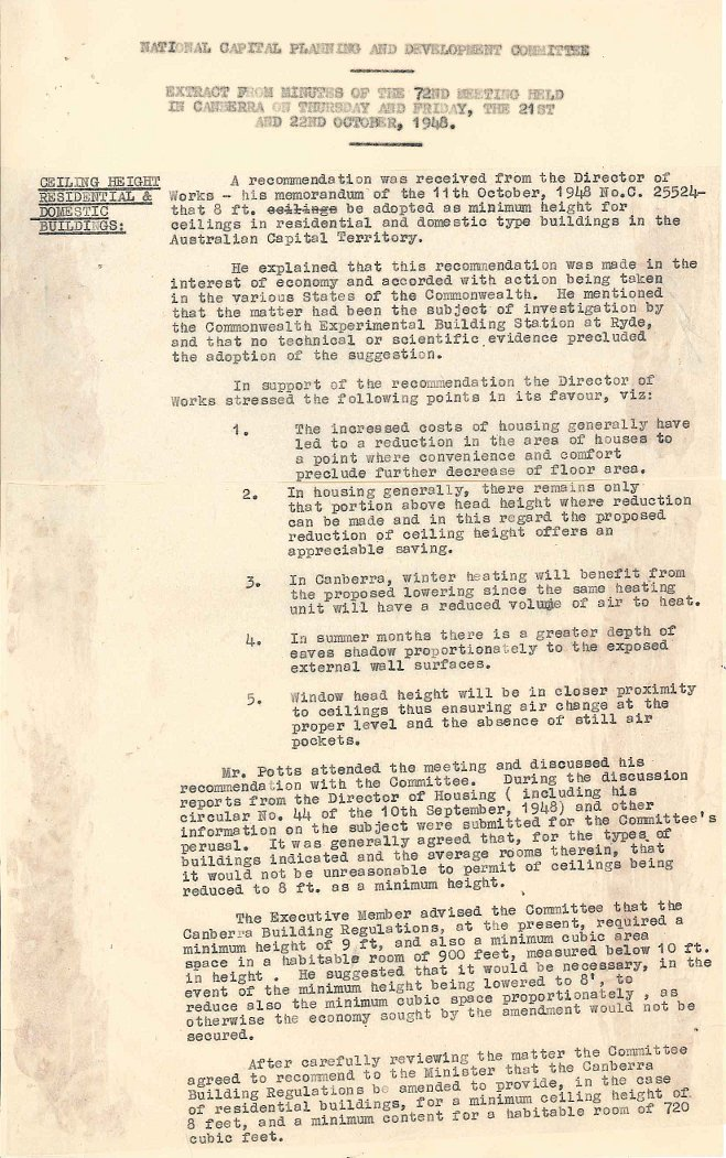 PC35/5/0 - National Capital Planning & Development Committee - Ceiling Heights in Dwellings - NCPDC Minutes dated 22/10/1948
