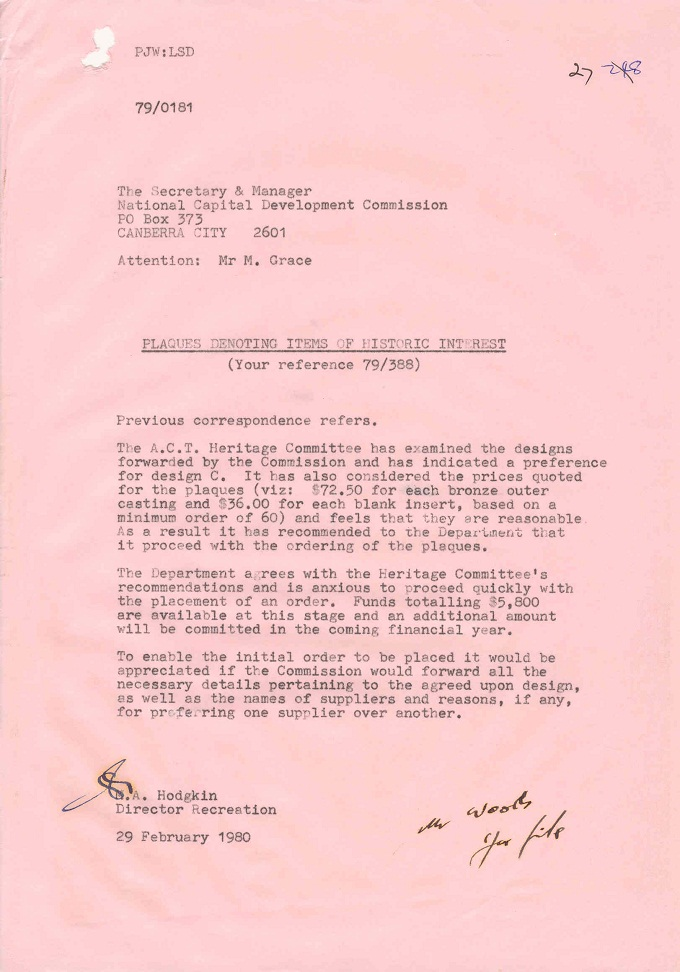 Memo from Director Recreation, M.A. Hodgkin to Secretary and Manager, NCDC, K.J. Curtis - 29/02/1980