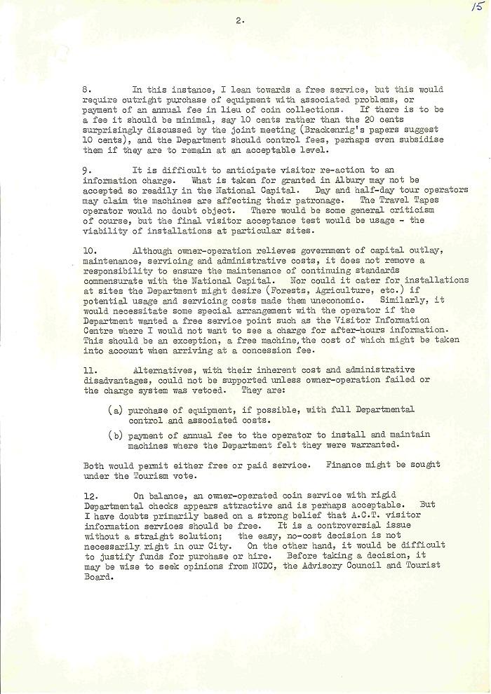 72/122 - Canberra Tourist Bureau - Information Machines - folio 15